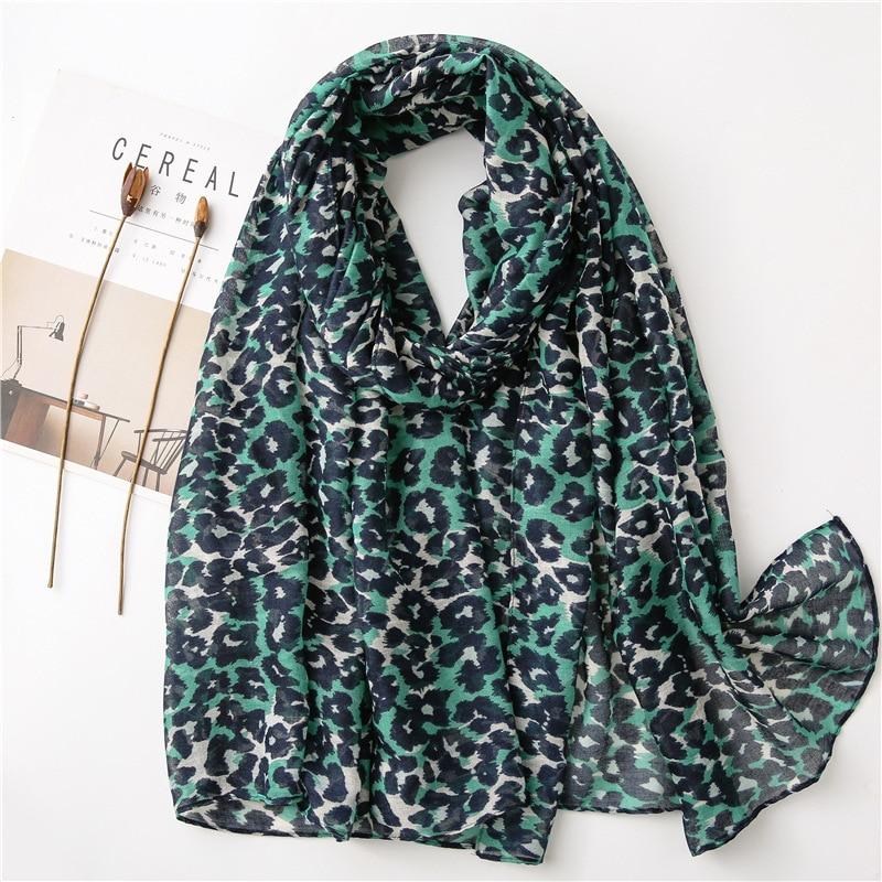 Bufanda de punto de leopardo verde para mujer, chal de viscosa, envoltura de gasa estampada, diadema, Bufandas, hiyab musulmán, Sjaal, 2020*90Cm, 180