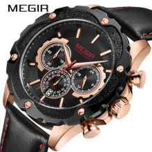 2019 MEGIR New Mens Watches Top Brand Luxury Waterproof 24 Hour Date Quartz Clock Male Leather Sport Wrist Watch