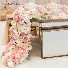 2M lujo contexto de la boda de la flor artificial de la decoración personalizada guirnalda de flores de la tabla del banquete Runner acontecimiento del cumpleaños de la flor de la fila