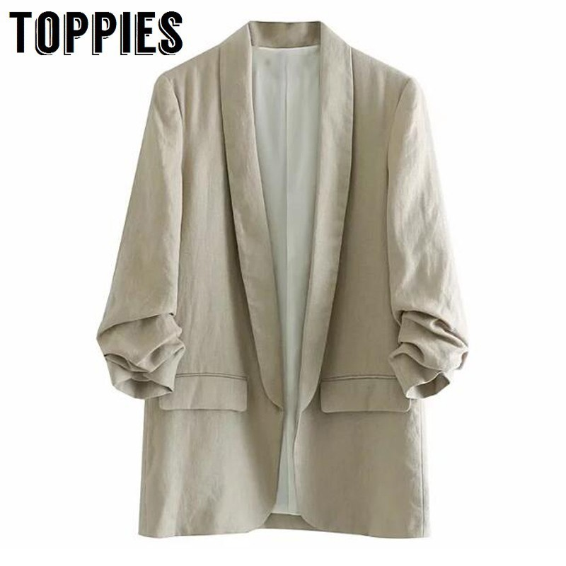 2020 Women Linen Suit Jacket OL Leisure Blazers Solid Color Loose Cardigan Coat Thin Jacket