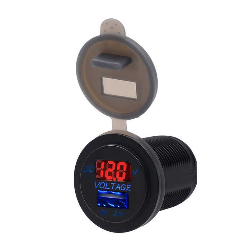 المزدوج مقبس شاحن USB Conector سيارة الهاتف منفذ مع الفولتميتر سيارة التبعي لل دراجات النارية موتور شاحنة ATV قارب 2.1A 12/24V