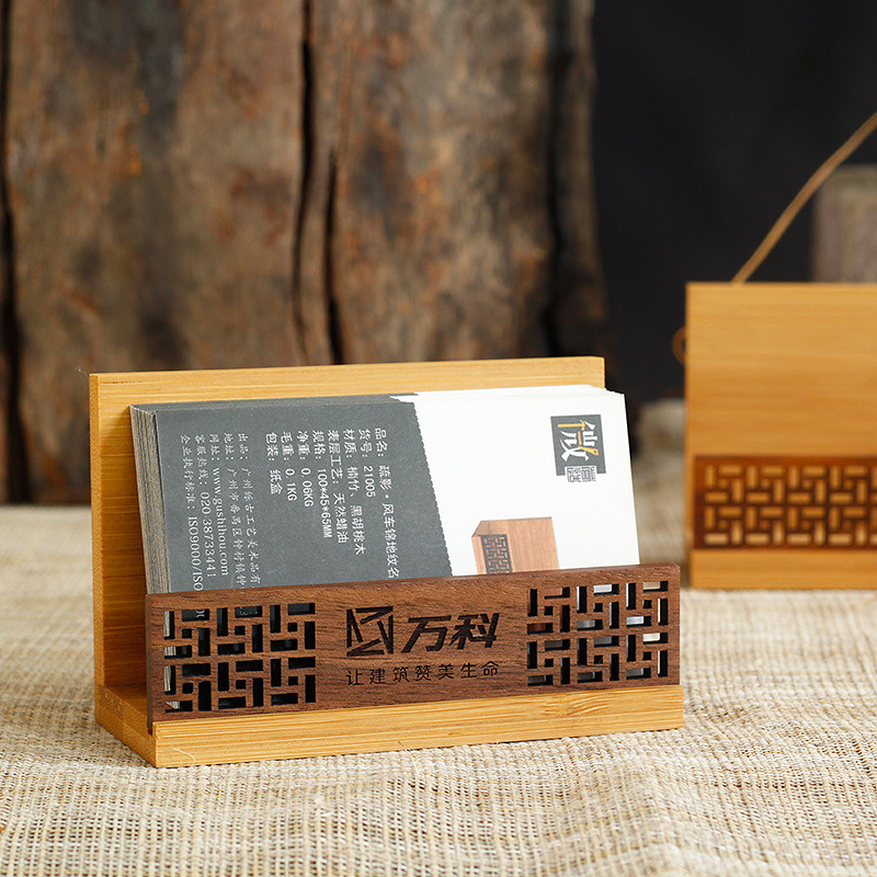 Card Case Customizable Logo Wood Desktop Retro Creative Chinese-style Simple Office Creative Send Customer Gift