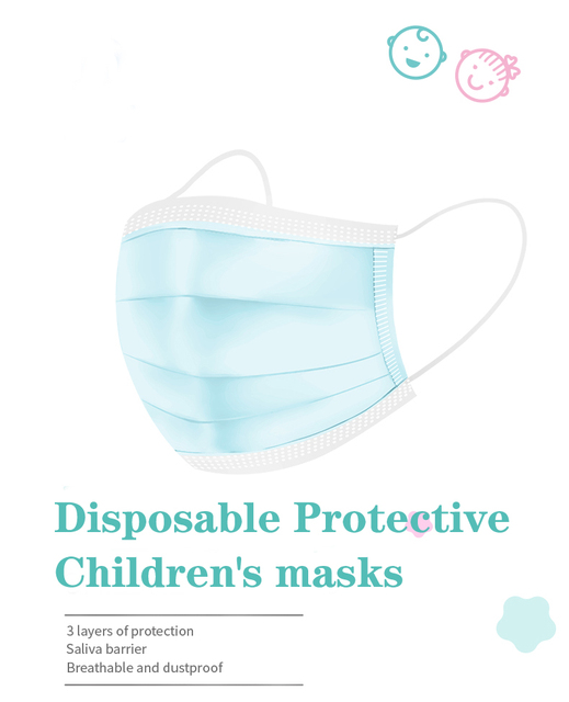 3 Layer Disposable Elastic Mouth Soft Breathable Children's Mouth Mask Cute Flu Hygiene Child Kids Face Mask Dropshipping маска 2