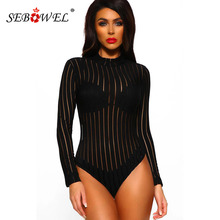 SEBOWEL Long Sleeve High Neck Black Bodysuits Woman Casual Spring Female Turtleneck Perspective Sheer Striped Body Top Clothes