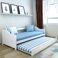 vdaXL Pull Out Sofa Bed Furniture Multifunction White Pinewood Living Room Sofa Cum Bed Convertible Sofa 90x200cm