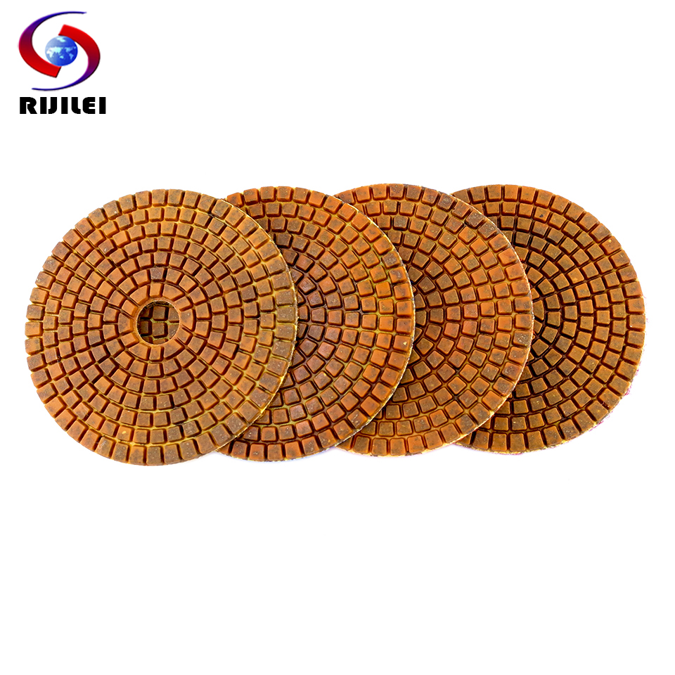 RIJILEI 4PCS Top 4inch Wet Dry Diamond Polishing Pads 4 Steps Copper Metal Bonded Polishing Pad For Granite Marble Concrete