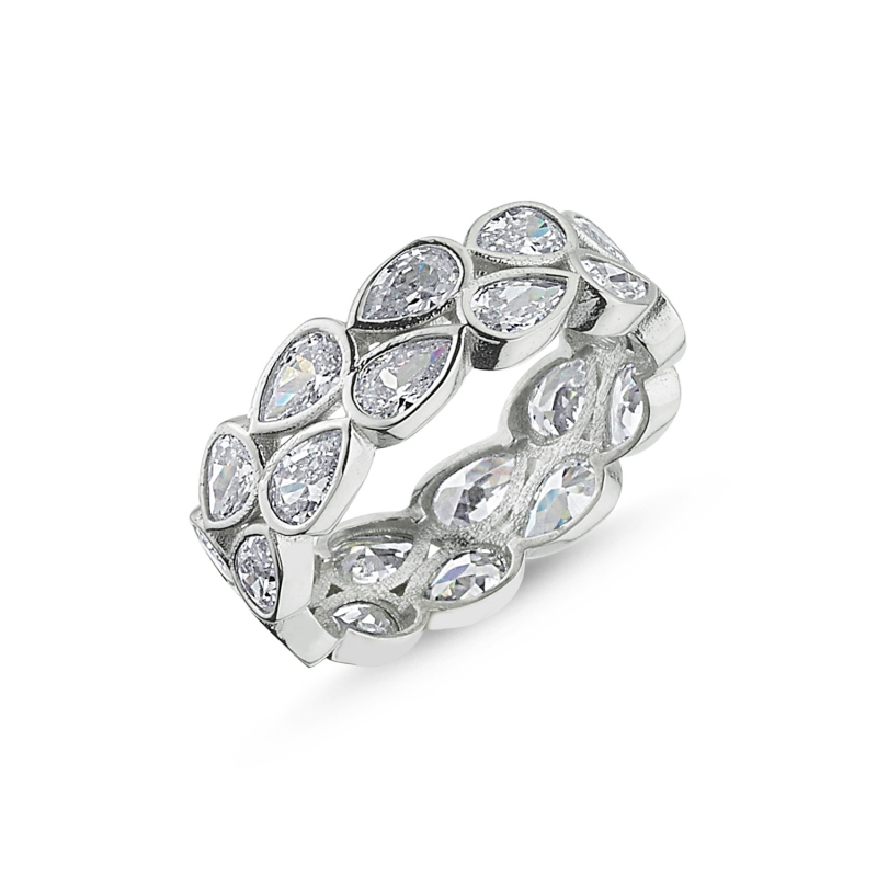 Silver 925 Sterling 6mm Double Row Drop Zircon Stone Tamtur Ring