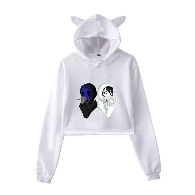 unique horror atmosphere of black humor creepypasta  print fashion trend Cat ears Top Women Hoodies Sweatshirt Sexy clothes 2