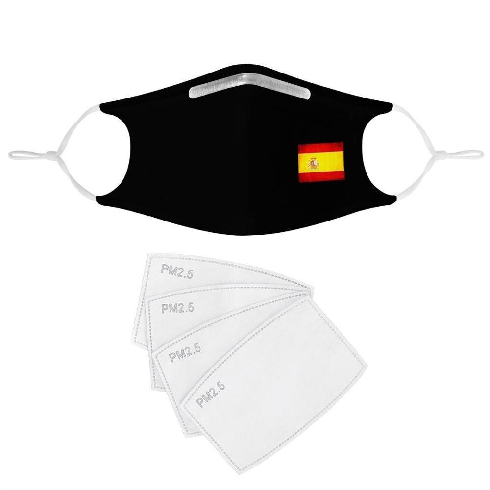 Patrón de máscara personalizada con bandera española, 4 Uds., máscaras de filtro, inserto de carbón, antiinfección máscara antipolvo, cubierta facial negra reutilizable, España