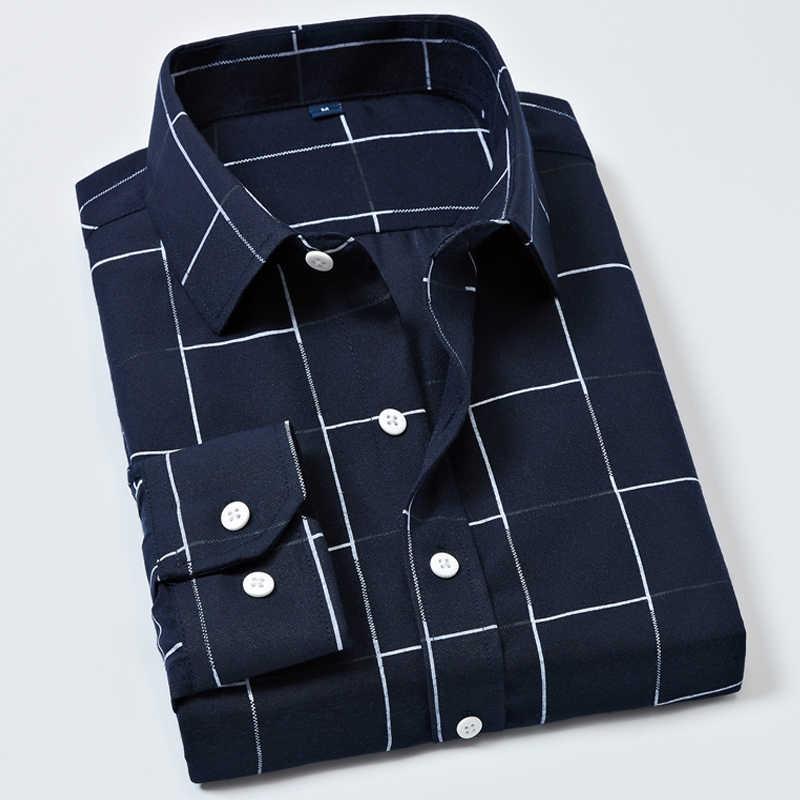 남성 격자 무늬 셔츠 긴 소매 격자 무늬 셔츠 캐주얼 긴 소매 공식적인 브랜드 의류 비즈니스 셔츠 슬림 피트 남성 camisas oxford
