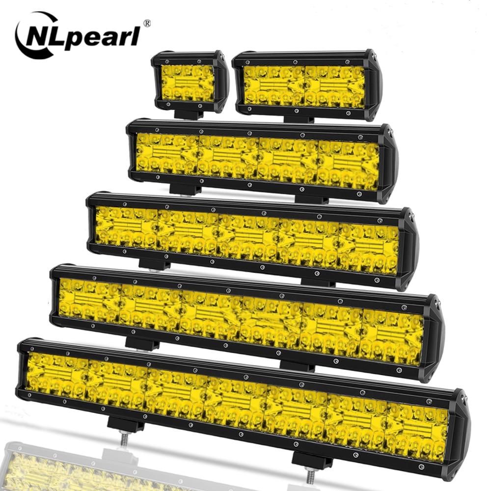 Nlpearl 4-20 polegada conduziu a luz de barra offroad amarelo 120w conduziu a luz de trabalho para o caminhão suv uaz 4x4 trator atv 12v 24v conduziu a luz de nevoeiro