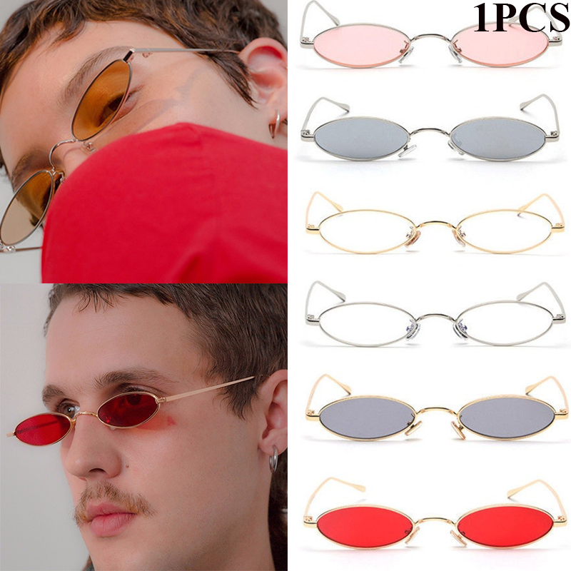 Fashion Retro Small Frame Oval Sunglasses Round Mirror Metal Ocean Piece Sun Glasses Wild Tide Street Women Vintage Shades