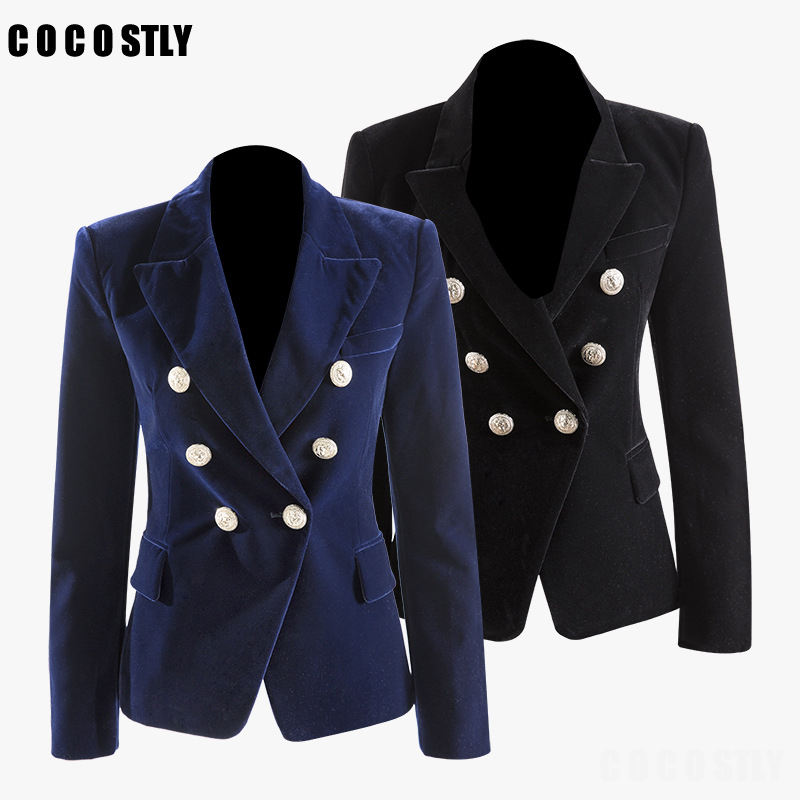 High Quality Fashion Office Coat Woman Autumn 2019 Long Sleeve Blazer Double Breasted Metal Button Gold Velvet Women Jacket