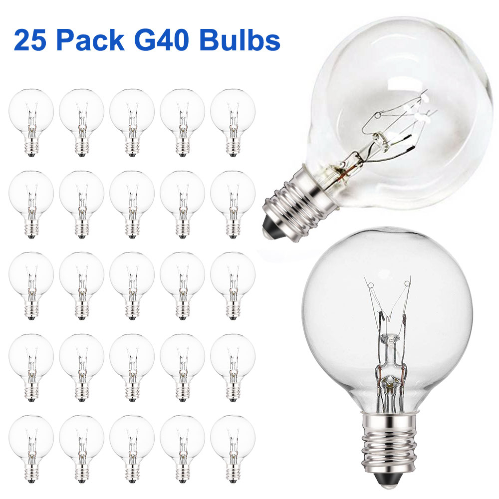 Clear G40 Globe Light Bulbs For Patio String Lights Fits E12 And C7 Base 5 Watt G40 Replacement Bulbs For Indoor/Outdoor Use