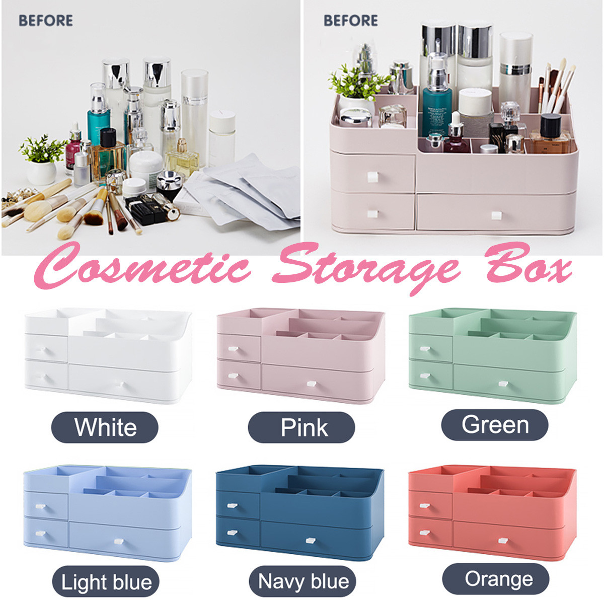 Plastic Makeup Organizer Osmetics Storage Container Lipstick Holder Jewelry Organize Sundries Case Home Makeup Storage Box Women