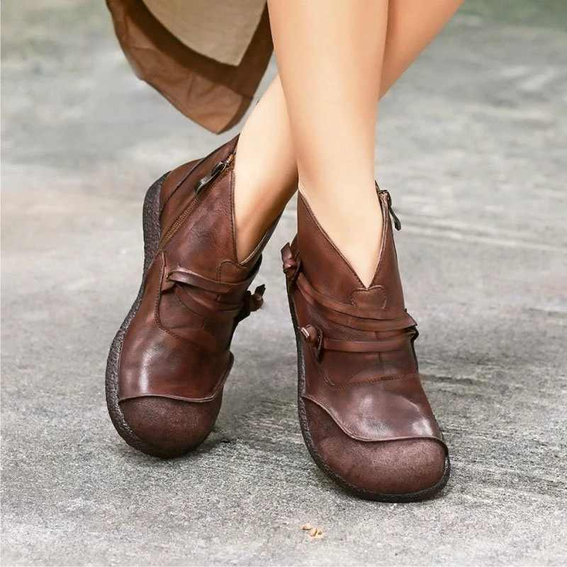 New 2019 Autumn Winter Retro Women Boots Fashion Genuine Leather Ankle Boots Zapatos De Mujer Vintage Warm Botas