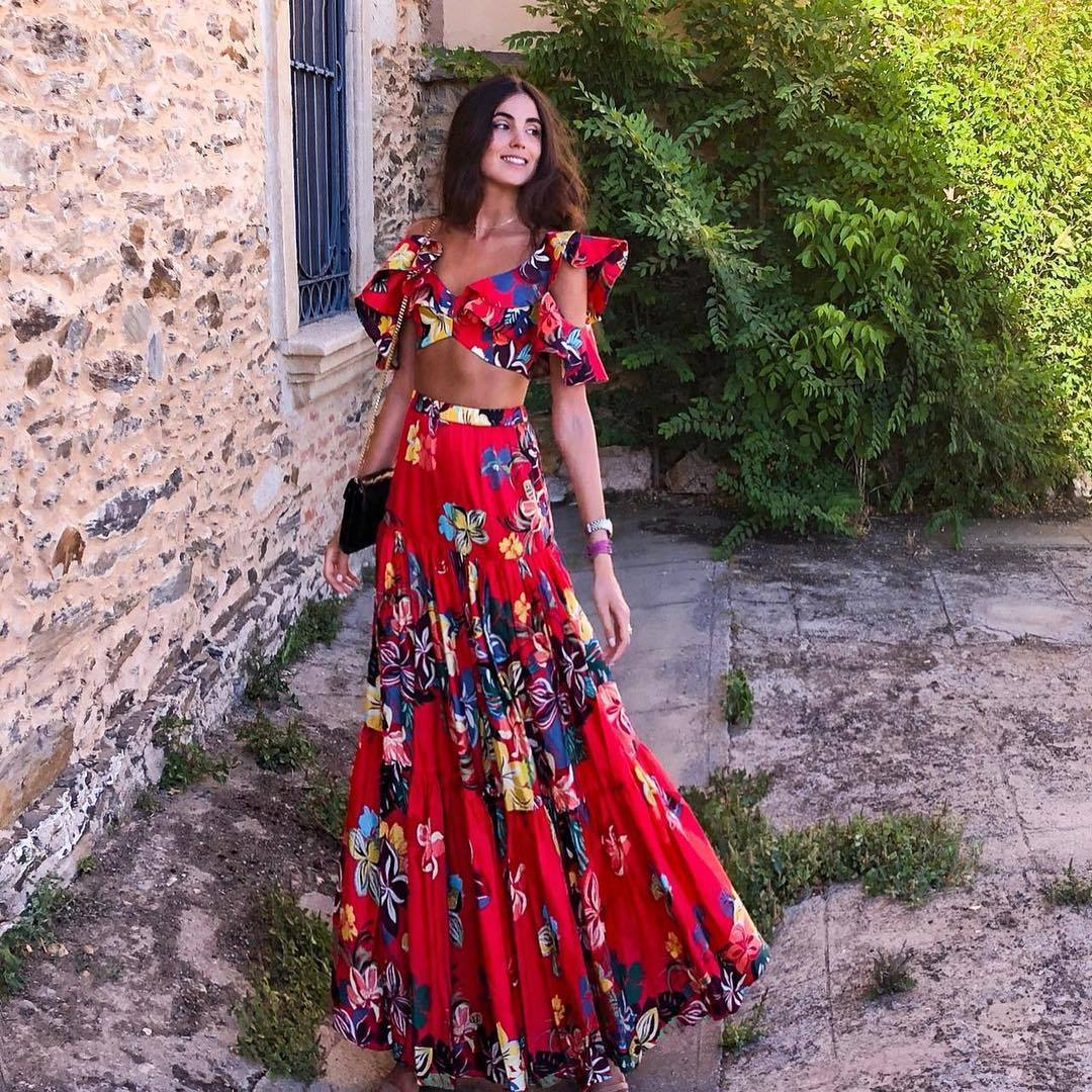 Summer 2 Piece Sets Women Floral Skirts Suits Sexy Cropped Top +maxi Dress Long Pleated Skirts Bohemian Boho Clothing Woman Suit