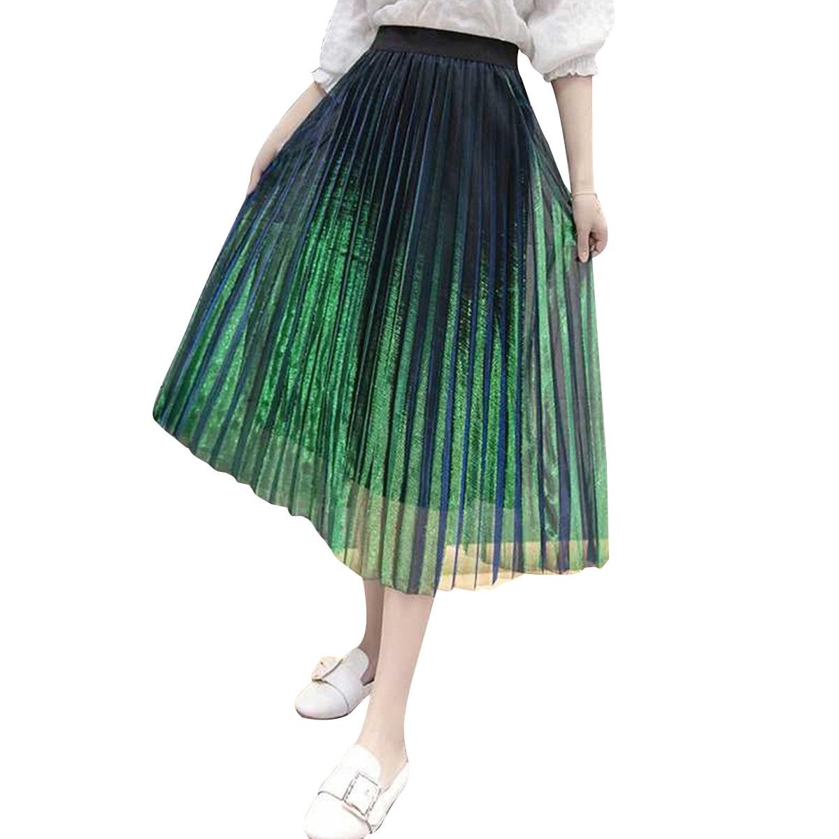 Women Gradient Multi Vintage Autumn Winter Layers Skirt Tulle Tutu Princess Elegant High Waist Pleated Skirt Metal  Female Color