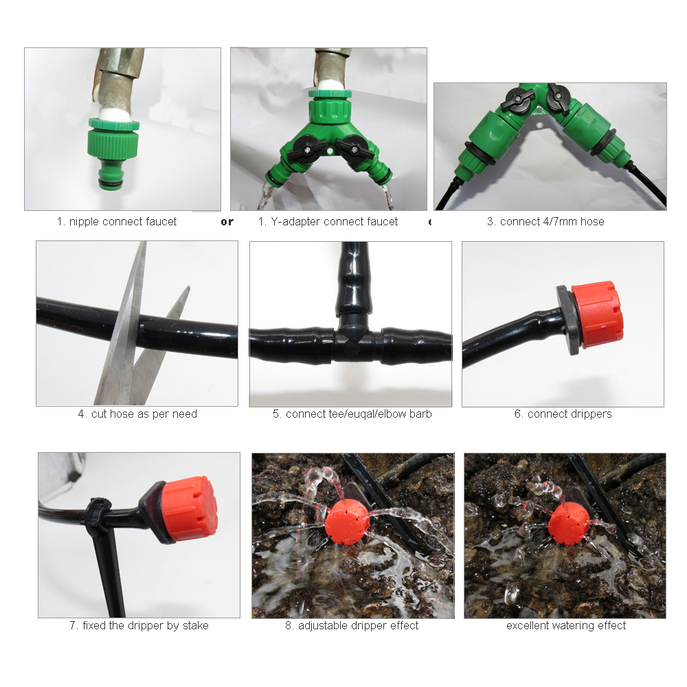 MUCIAKIE 50M-5M DIY Drip Irrigation System Automatic Watering Garden Hose Micro Drip Watering Kits with Adjustable Drippers 4
