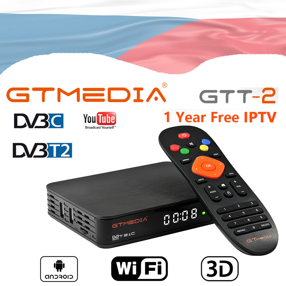 GTMEDIA GTT2 Android 6.0 Android TV BOX DVB-T2 DVB-C 2GB 8GB with wifi antenna Czech Republic language+stable world IPTV TV BOX