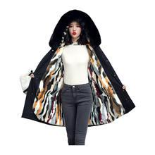 Women medium long winter jacket fur collar liner detachable
