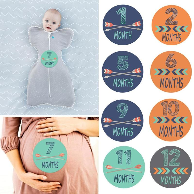 Newborn Photo Props Stickers 1-12 Months Month Stickers For DIY Scrapbook Album With Four Styles Of Color Design Novel Feature