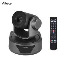 Aibecy caméra de conférence vidéo, Webcam Full HD 1080P, Zoom en option, large vue à 95 degrés, télécommande USB automatique