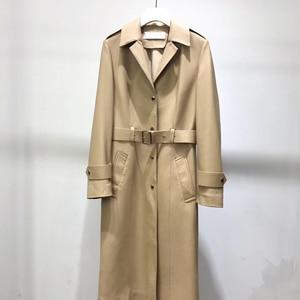 Image 1 - אמיתי עור מעיל נשים 2020 אביב אמיתי כבש טנץ מעיל נשי ארוך מעיל עם חגורה