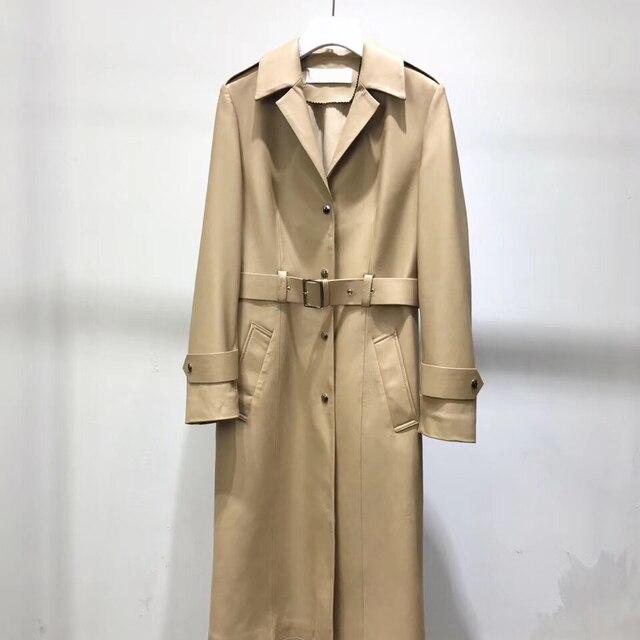 אמיתי עור מעיל נשים 2020 אביב אמיתי כבש טנץ מעיל נשי ארוך מעיל עם חגורה