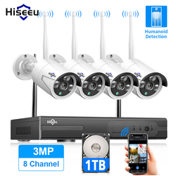 Hiseeu 8CH Wireless CCTV System 1536P 1080P NVR wifi Outdoor 3MP AI IP Camera Security System Video Surveillance LCD monitor Kit