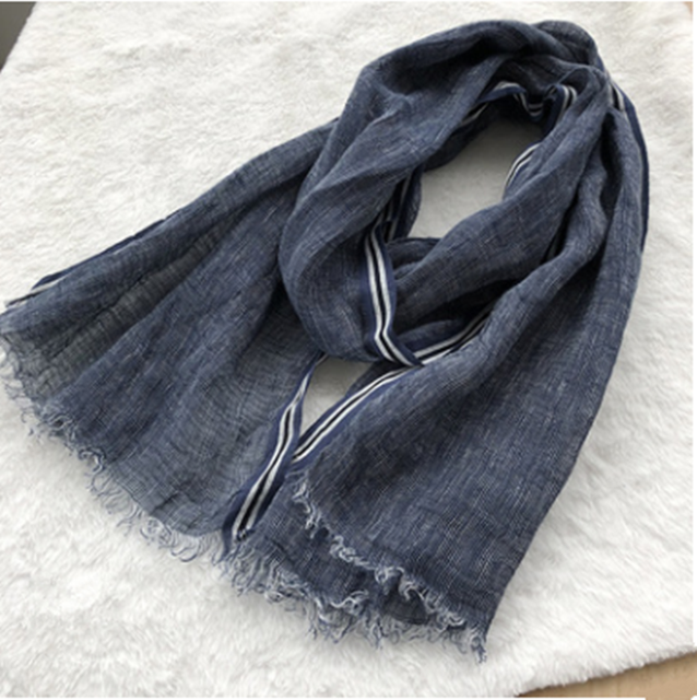 2020 New Style Spring And Summer Leisure Business Mens Linen Scarf Solid Color Clause Versatile Breathable Shawl