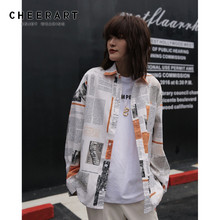 Cheerart Streetwear Newspaper Shirt Long Sleeve Blouse Women Letter Print Loose Fall Tops Button Up Fashion Clothing