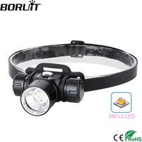 BORUiT Powerful XM-L2 LED Diving Headlamp 2000LM Underwater 100M Headlight Stepless Dimming 18650 Head Torch Fishing Fill light
