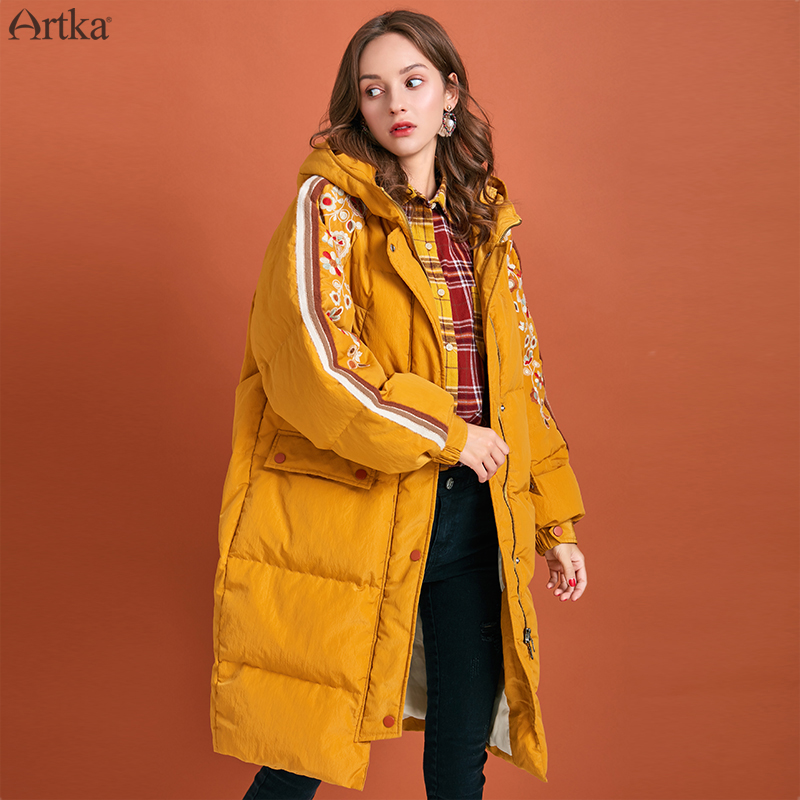 ARTKA 2019 Winter New Women's Down Coat 90% White Duck Down Extremely Warm Outwear Hooded Embroidered Long Down Jacket ZK10195D