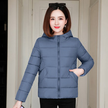 2020 winter women thick parka cotton padded jacket hooded slim office ladies warm outwear oversized solid coats manteau femme(China)