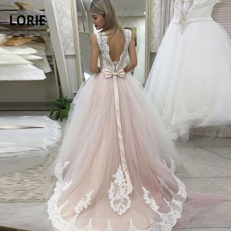 LORIE Elegant Lace Appliqued Ball Gown Wedding Dresses Soft Tulle Corset Lacing Tie Bridal Gown Boho Wedding Gowns
