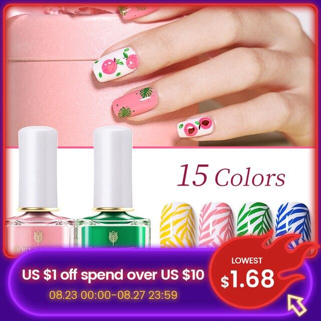 BORN PRETTY-esmalte de uñas estampado, 15 colores, Serie de verano, placa de Estilo Dulce, barniz de uñas, caramelo 1