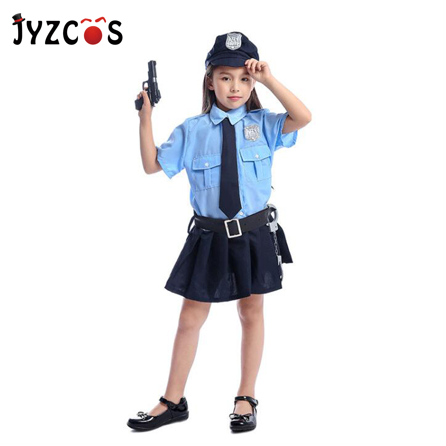 JYZCOS Cute Girls Tiny Cop Police Officer Playtime Cosplay Uniform Kids Coolest Suits Halloween Costume Children Cosplay Clothes