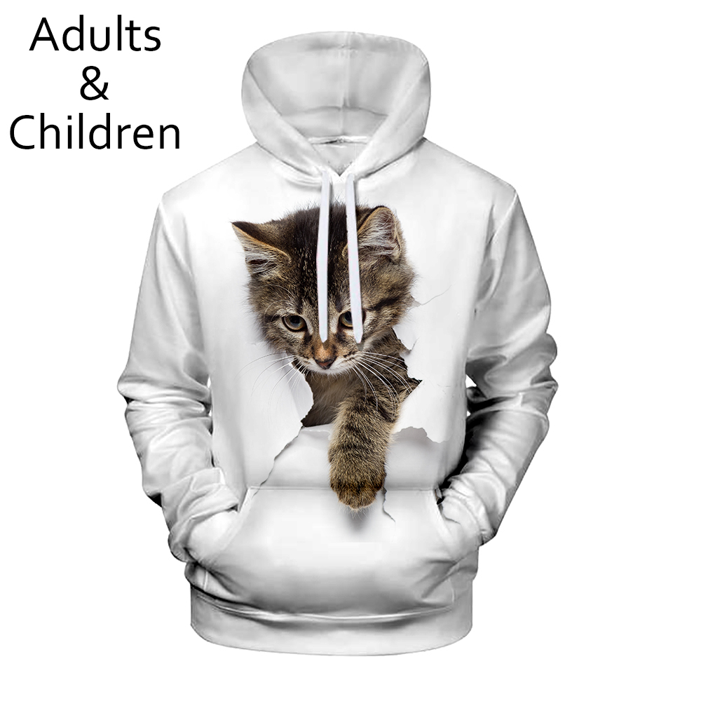 New Listing Cute 3D Cat Hoodies Men Women Sweatshirt Harajuku Kids Hooded Autumn Boys Girls Animal White 3D Hoodie Pullovers