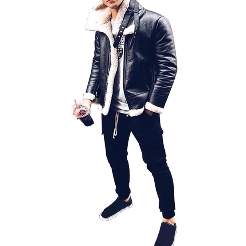 NEW Fashion Men Winter Tops Long Sleeve Fur Belt Faux Leather Jacket Highneck Shearling Coat Wool Lining Bomber Jacket Men