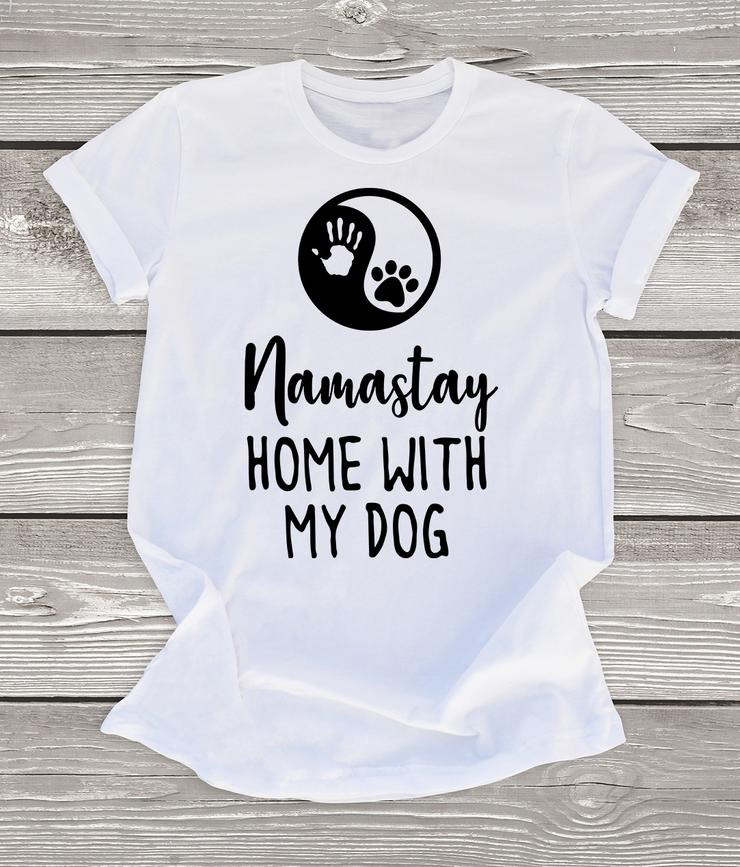 Fun Namastay Home with My <font><b>Dog</b></font> T-Shirt Funny Camisetas Summer Women Vintage Grunge <font><b>Tshirt</b></font> <font><b>Unisex</b></font> Aesthetic Top Tee image