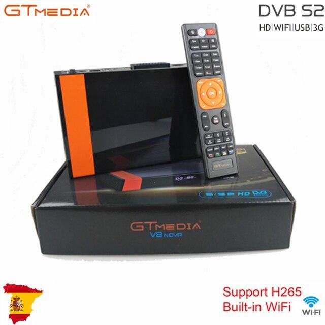Gtmedia V8 Nova Ingebouwde Wifi H.265 Met Europa 7 Lijnen Snel Schip 2/3 Dag Uit Spanje Hd DVB S2 satellietontvanger Ingebouwde RJ45