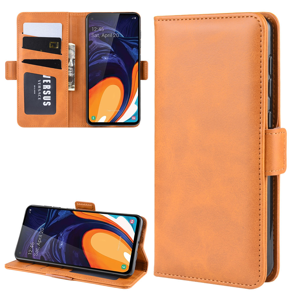 Double Buckle Side Suction Case for <font><b>Samsung</b></font> <font><b>Galaxy</b></font> <font><b>A60</b></font> <font><b>SM</b></font>-A606F <font><b>A6060</b></font> Flip Leather Cover Case Wallet Stand Style With Card Slots image