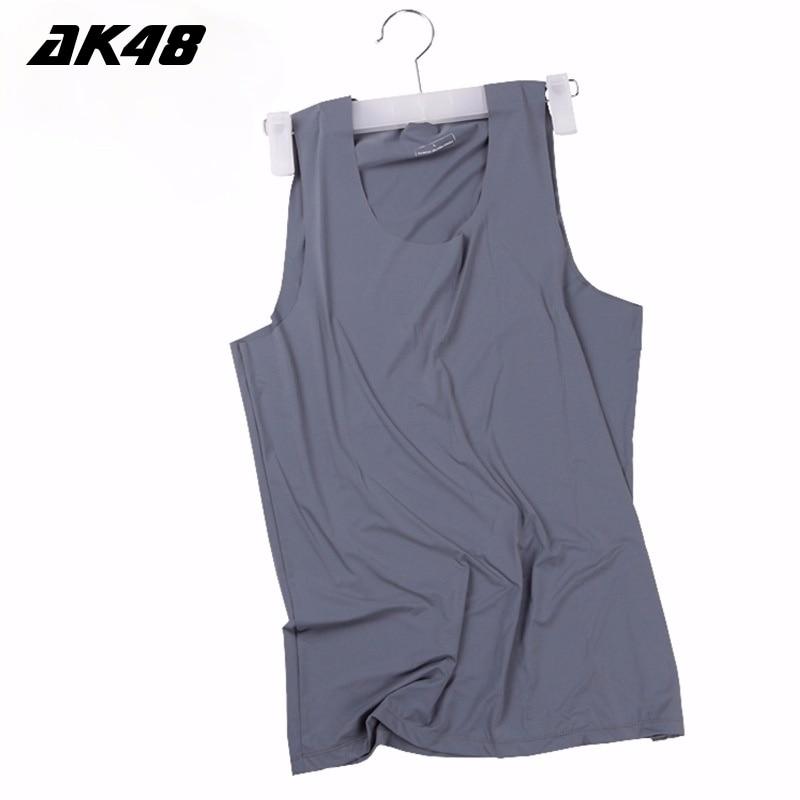 BOBTXS Version of The Summer Workman Mens Vest Ice Silk No Trace Thin Waistcoat  Tight Bottom Sports Men Vests Undershirt