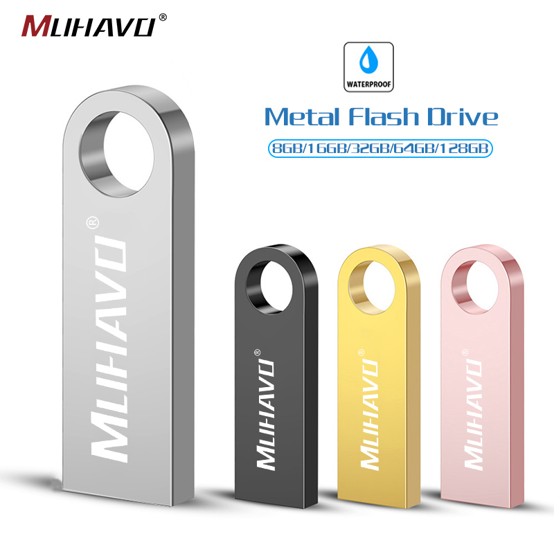 Metal USB Flash Drive Pendrive 64GB 32GB 16GB 8GB Usb Stick 2.0 Waterproof Pen Drive 128gb Memory Stick Flash Drive Custom Logo