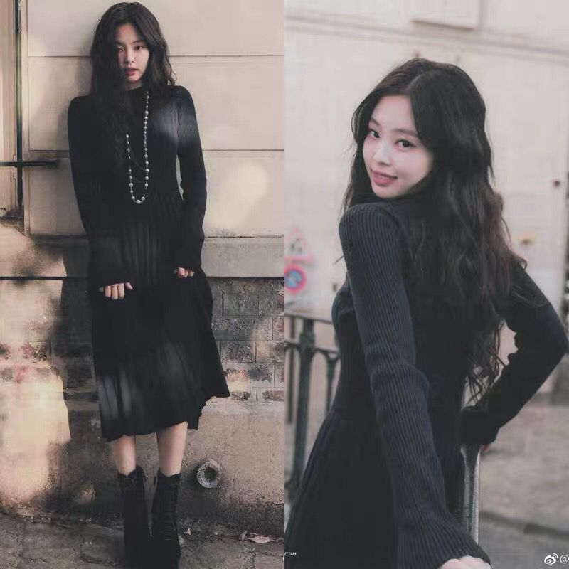 BLACKPINK Jennie Celebrity Style Black And White With Pattern Jersey Dress Laziness-Style New Style Slim Fit Base Sweater Dress
