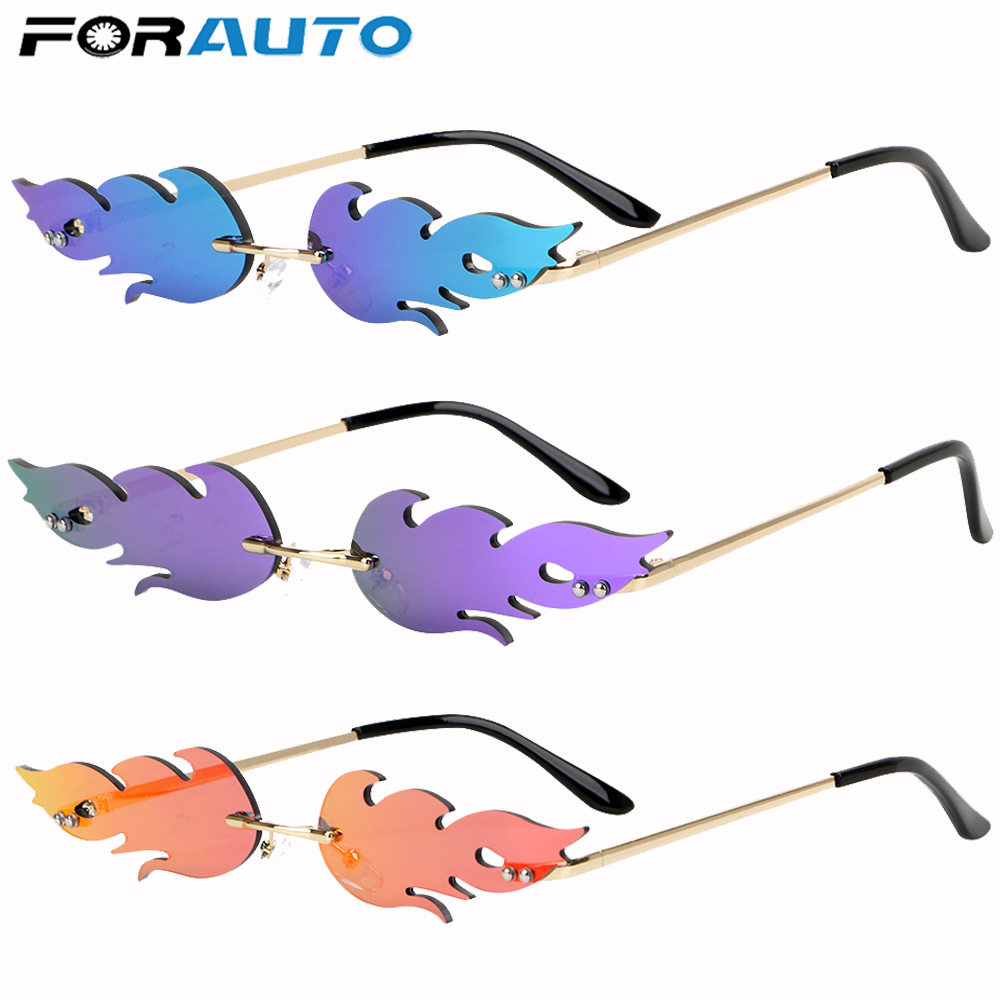 FORAUTO Rimless WAVE แว่นตากันแดด Fire Flame แว่นตากันแดด Streetwear รถขับรถแว่นตายอดนิยมแคบแฟชั่น UV 400 แว่นตา