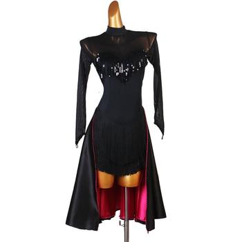 latin dress competition dresses junior kids women samba rumba tango latin dance dress black sequin lq177
