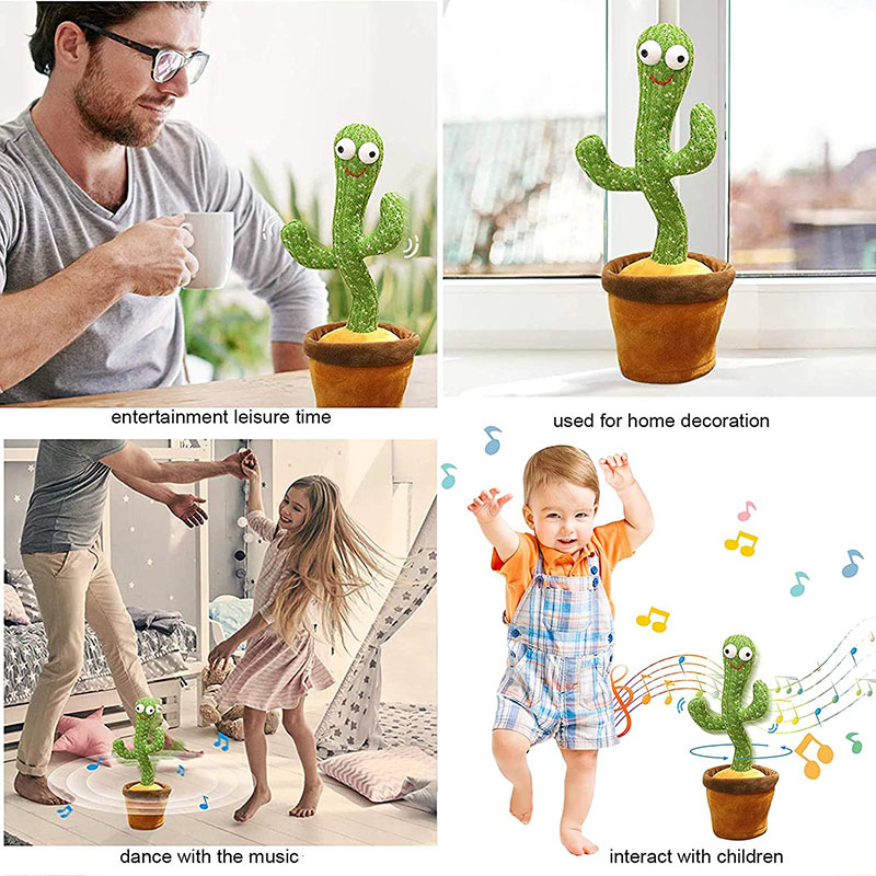 Dancing Cactus Electron Plush Toy Soft Plush Doll Babies Cactus That Can Sing And Dance Voice Interactive Bled Stark Toy For Kid