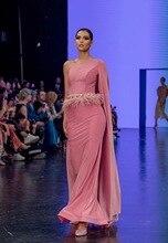 Elegant Dress Pink One-Shoulder Good Quality Stretch Rayon Bandage Slash Neck Celebrity Cocktail Party Long Vestido